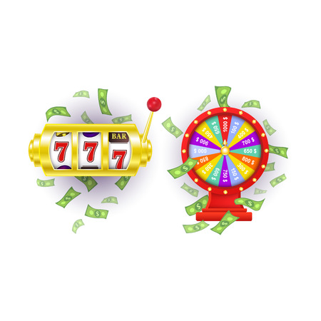 vector flat cartoon gambling lucky wheel of fortune with dollar rain around, jackpot casino golden slot machine set. Isolated illustration on a white background. Sign of profit, easy money. Illustration