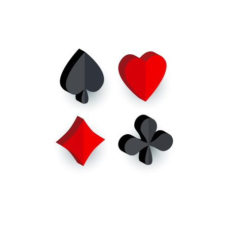 Set of 3D playing card suit signs - hearts, spades, clubs, diamonds, flat cartoon vector illustration isolated on white background. Playing card suits - hearts, spades, clubs, diamonds