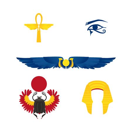 エジプトのシンボルのセット-翼の太陽、アンク、ファラオの頭飾り、目とスカラベビートル、白い背景に孤立フラット漫画ベクトルイラスト。フラ