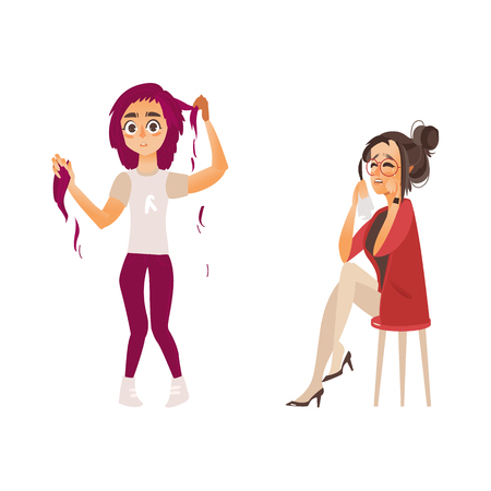vector flat women suffering from mental illness set. Hair loss problem, depression grief. female characters plucking her pink hair out, another one crying. Isolated illustration on a white background.