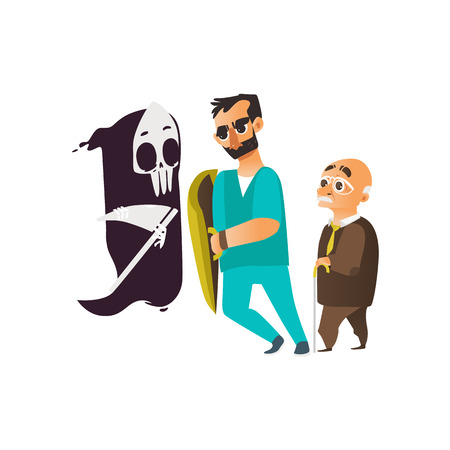 vector flat cartoon male doctor in glasses holding shield protecting male elder grey-haired patient from mental illness - fear of death. Isolated illustration on a white background Çizim