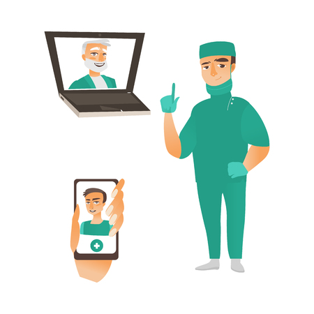 vector flat adult male , surgeon in green medical uniform - pointing something out smiling, head physician in laptop, doctor in smart phone avatar set. Isolated illustration on a white background