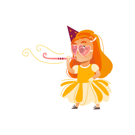 vector flat cartoon girl kid in funny heart glasses, yellow dress and party hat faving fun whistling. isolated illustration on a white background. Kids patty concept
