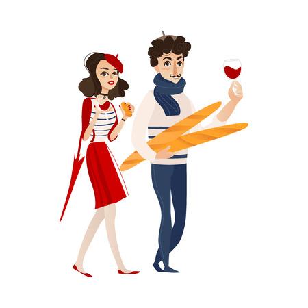 ベクトル漫画青年バゲットパンとスカーフ loafs、傘、クロワッサン、赤ワインのグラスを持つ女性。フランスのパリのスタイルの肖像画に設定しま