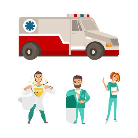 vector flat cartoon ambulance car. Paramedic emergency auto. Medical evacuation service vehicle, super doctor, surgeon with big pill and female nurse set. Isolated illustration on a white background