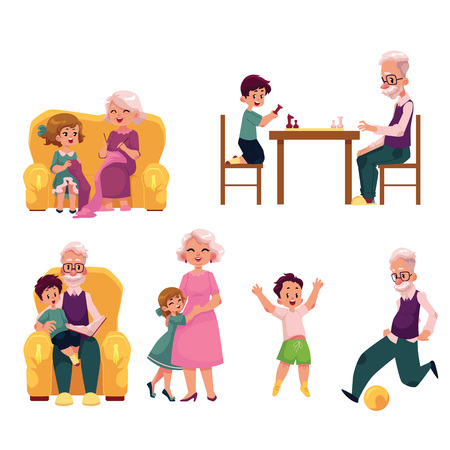 Grandparent spending time with grandchildren - playing chess and football, knitting, reading, hugging, cartoon vector illustration isolated on white background. Grandparent and grandchildren
