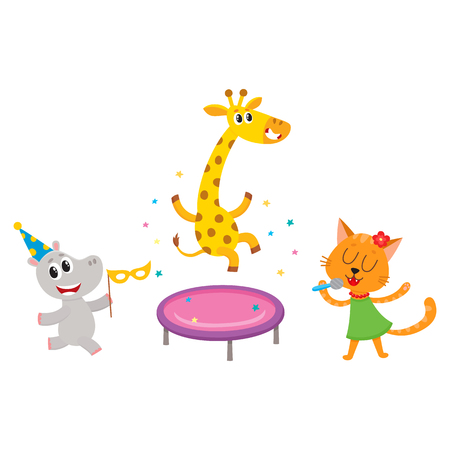 vector flat cartoon cheerful animals character happily smiling in paty hat set. giraffe jumping on trampoline, cat singing with microphone, hippo dancing . isolated illustration on a white background. Ilustracja