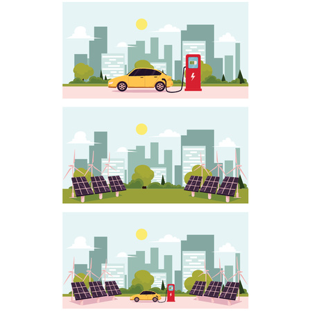 vector flat cartoon Alternative eletricity source scenes set. solar panels battery, sun power cells plant, windmills turbine eco energy source station set. Isolated illustration on a white background. Illustration