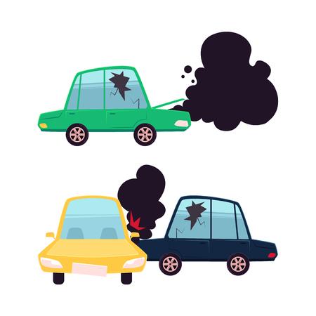 ベクトル漫画のフラット車事故セット。2 つの車両がクラッシュ、1 つ火と黒煙から得たフード、ひびの入った側面窓からすは、壊れた自動。白い背  イラスト・ベクター素材