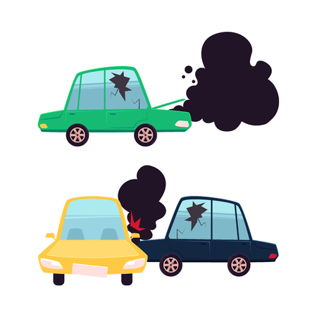 vector flat cartoon car accident set. Two vehicle crashed, one got fire and black smoke from hood, cracked side window glass, broken auto. Isolated illustration on a white background.