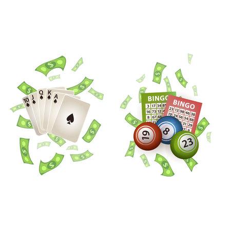 벡터 평면 만화 로얄 플러시 스페이드 포커 카드, 비가 달러 현금 돈, 빙고 복권 공 및 티켓 설정합니다. 흰색 배경에 고립 된 그림입니다. 이익, 쉬운  일러스트