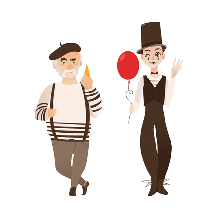 French characters, mime and cheese loving gourmand, symbols of France, flat cartoon vector illustration isolated on white background. Typical, stereotypical French men, people - mime and gourmand Ilustracja