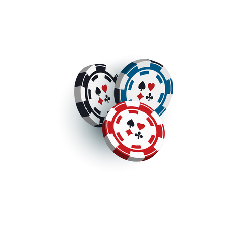 Set of red, black and blue gambling, casino, poker chips, tokens, 3D vector illustration isolated on white background. Group of three casino, gambling chips, tokens on white background Illustration