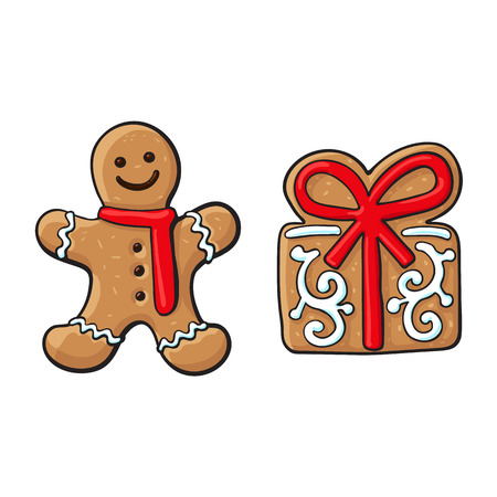 Glazed gingerman and present box Christmas gingerbread cookies, sketch vector illustration isolated on white background. Christmas glazed gingerbread cookie in shape of gingerman and present, gift box