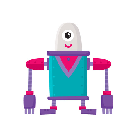 vector flat cartoon funny friendly robot. Big Humanoid character with short legs and long arms and one big eye, smiling. Isolated illustration on a white background. Childish futuristic. Illustration