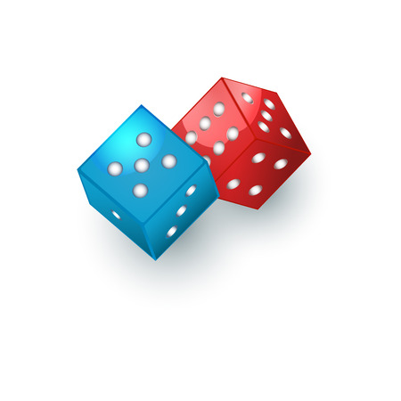 Couple of red and blue dices, gambling devices, vector illustration isolated on white background. Two dices, casino, gambling devices for throwing random numbers Çizim