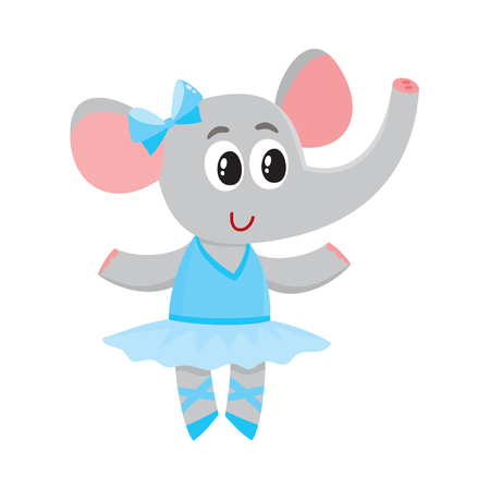 Cute little elephant character, ballet dancer in pointed shoes and tutu skirt, cartoon vector illustration isolated on white background. Little elephant baby animal, ballet dancer, ballerina in tutu Illustration