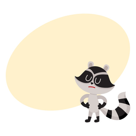 disapprove: Cute displeased, sad raccoon character showing negative emotion, cartoon vector illustration with space for text. Sad, displeased little raccoon standing with closed eyes and pursed mouth