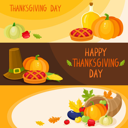 Set of thanksgiving day banner templates with symbols of the holiday - pumpkin pie, fruits and vegetables, cartoon vector illustration. Set of cartoon style thanksgiving day greeting banner templates Çizim