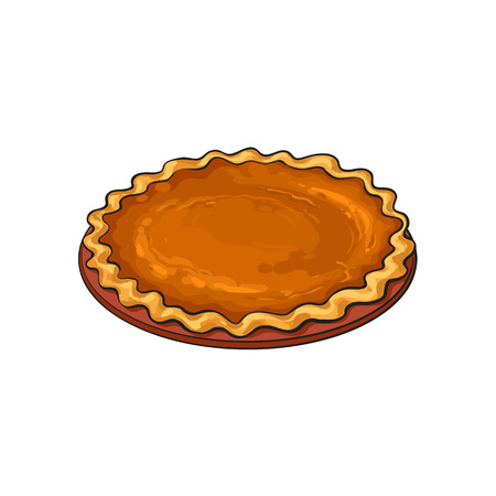 Hand drawn pumpkin pie, traditional thanksgiving food, sketch style vector illustration isolated on white background. Sketch style, hand drawn pumpkin pie, traditional Thanksgiving Day symbol Ilustração