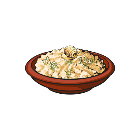 Hand drawn bowl of mashed pototo with piece of butter on top, sketch style vector illustration isolated on white background. Sketch style, realistic drawing of bowl with mashed potato Ilustração