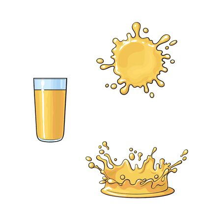 Glass and splashes of orange juice, realistic hand drawn, sketch style vector illustration isolated on white background. Hand drawn orange juice glass and two types of splashes Illustration