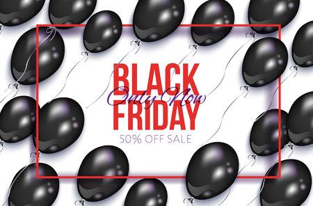 黒い金曜日販売バナー、風船やフレーム、白の背景にベクトル画像とチラシのデザイン。黒い金曜日販売バナー、チラシ、光沢のある風船と長方形  イラスト・ベクター素材