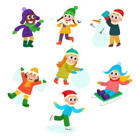 Set of kids, children, boys and girls doing winter activities, having fun, cartoon vector illustration isolated on white background. Kid, children play snowballs, make snowman, ice skate, ride a sled Ilustração