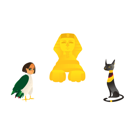 Sphinx, harpy woman bird and Bastet cat goddess, symbols of Egypt, flat cartoon vector illustration isolated on white background. Flat cartoon sphinx, harpy and Bastet cat, symbols of Egyptian culture