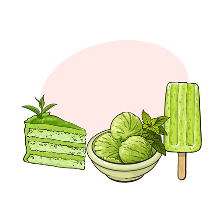 Hand drawn set of matcha green tea desserts - ice cream, cake, sketch vector illustration with space for text.