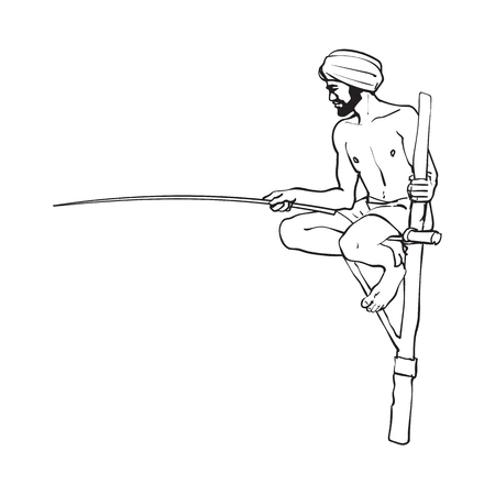 vector sketch cartoon local indian man in handscarf pagri or turban fishing by wooden stick sitting at wooden stilt pillar. Traditionally dressed male character, hand drawn sri-lanka , india symbols Illustration