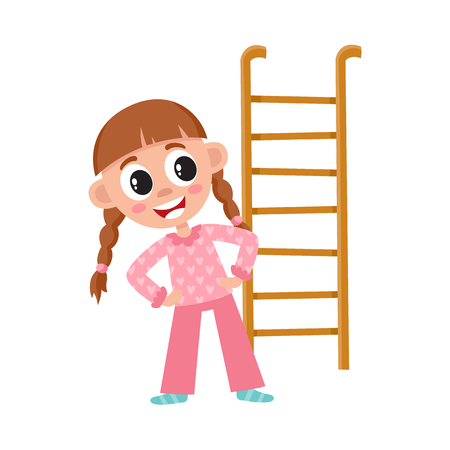 vector flat cartoon girl kid in night pajamas are going to climb the ladder of her bed, or making gymnastics smiling. isolated illustration on a white background. Daily routine concept