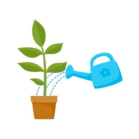 陶磁器の鍋、それを注ぐ青の水まき缶でフラット漫画緑植物をベクトルします。白い背景に分離の図。毎日の日常的概念  イラスト・ベクター素材