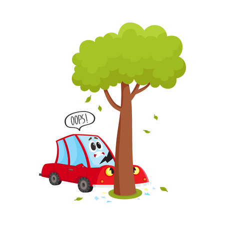 vector flat cartoon car character with eyes accident with cracked window glass, . Vehicle crashed into the tree. Isolated illustration on a white background. Road safety concept