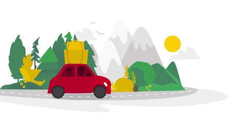 vector flat cartoon camping scene, travelling road trip. funny red car with big bags fixed at its roof within trees, mountains. Isolated illustration on a white background.