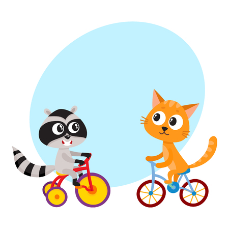 Cute little raccoon and cat characters riding bicycles together, cartoon vector illustration with space for text. Baby raccoon and cat animal characters riding bicycle and tricycle