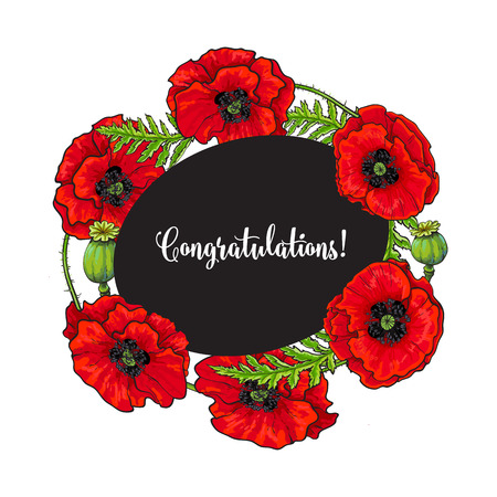 Vector red poppy flower blooming template. Isolated illustration on a white background. Realistic hand drawn blossom with stem and leaves. Floral congratulatory, greeting card template Иллюстрация