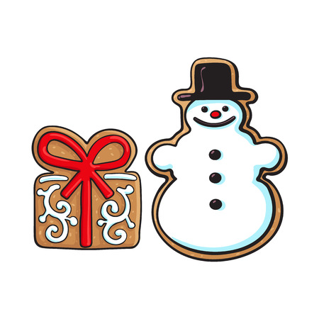 Glazed snowman and present box Christmas gingerbread cookies, sketch vector illustration isolated on white background. Christmas glazed gingerbread cookie in shape of snowman and present, gift box