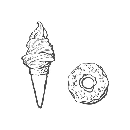 Vector sketch ice cream waffle cone. Hand drawn cartoon isolated illustration on a white background. Sweet delicious dessert food, snack