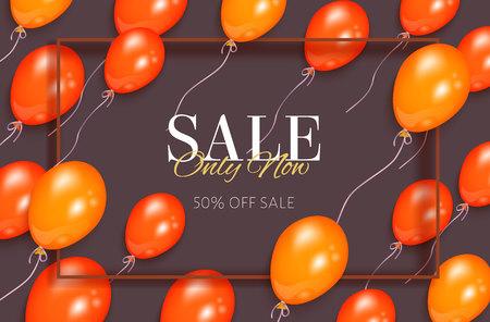 Rectangular sale banner, flyer design with orange balloons and frame for text, vector illustration on white background. Sale banner, flyer, poster template with shiny balloons and rectangular frame
