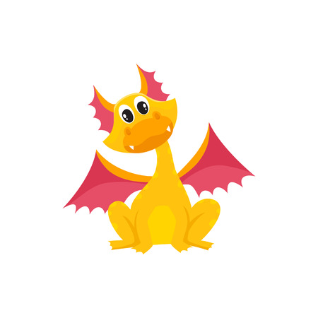 vector flat cartoon funny yellow dragon kid with red horns and wings sitting. Isolated illustration on a white background. Fairy mysterious cute creature character for your design