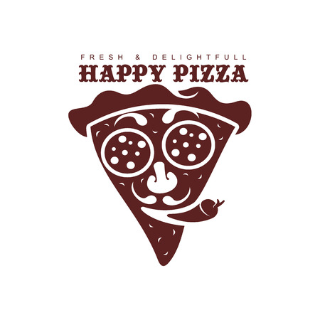 vector flat happy pizza slice icon. Isolated illustration on a white background. Pizzaria , delivery company brand , logo ready to use design. Face-like sliced pizza smiling with pepper tongue.