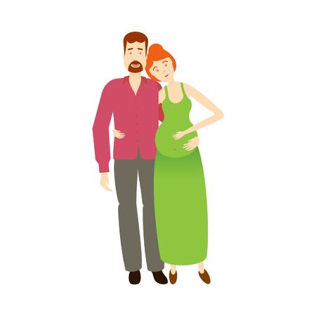 Erwachsenes Paar der flachen Karikatur des Vektors. Getrennte Abbildung auf einem weißen Hintergrund. Flache Familienzeichen. Erwachsener rothaariger Mann, erwachsene schwangere Frau im grünen Kleid und neugeborenes Baby Standard-Bild - 86157140