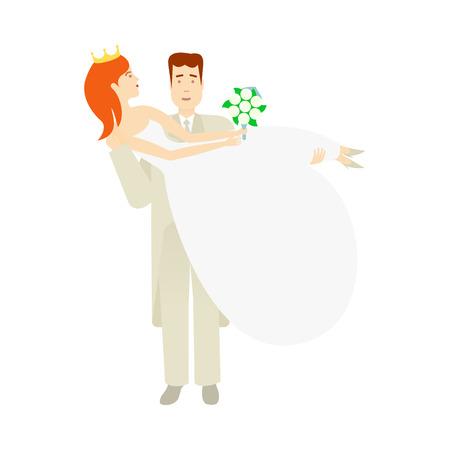 フラット漫画イラスト白背景に分離の彼の腕の彼女を持って花嫁を運ぶベクター新郎新郎。結婚式のコンセプト キャラクター デザイン  イラスト・ベクター素材