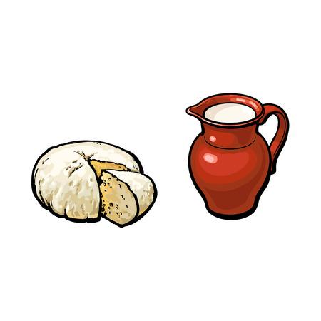 Style de dessin animé de vecteur, pot de lait de brebis avec et ensemble de fromages Illustration isolée sur fond blanc Objets de design de produits dessinés à la main Banque d'images - 86157142