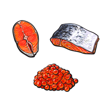 vector sketch sea salmon fish meat fillet steak with, without skin from top and side view and caviar set. Isolated illustration on a white background. Seafood delicacy, restaurant menu decoration Çizim