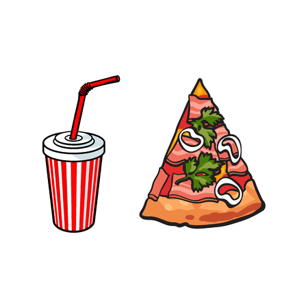 Vector flat pizza slice with salad parsley onion and ham and plastic, paper disposable soft cold drink cup with lid and straw. Fast food cartoon isolated illustration on a white background.
