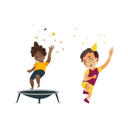 vector flat cartoon kids at party set. Black boy jumping on trampoline happily , another boy dancing in party hat smiling . Isolated illustration on a white background.