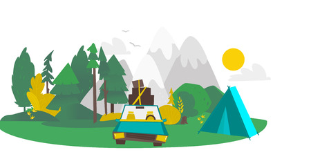 vector flat cartoon camping scene, travelling road trip. funny green car with big bags fixed at its roof near touristic tent within trees, mountains. Isolated illustration on a white background.