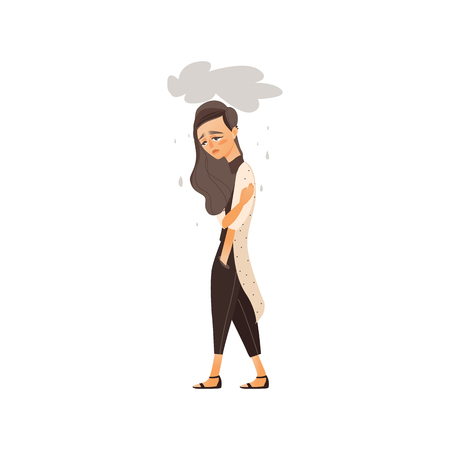 vector flat cartoon young woman suffering from depression. Unhappy female character with rainy clouds above her. Isolated illustration on a white background. Mental illness concept